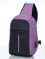 cheap -Men's Bags Canvas Sling Shoulder Bag Chest Bag Pattern / Print Zipper Daily Outdoor 2021 MessengerBag Black Blue Purple Gray