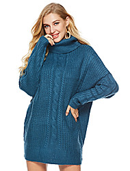 cheap -Women's Sweater Jumper Dress Short Mini Dress - Long Sleeve Solid Color Patchwork Fall Winter Vintage Oversized 2020 Blue Wine Khaki Dark Gray One-Size