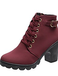 cheap -Women's Heels Chunky Heel Round Toe Casual Daily Walking Shoes PU Lace-up Solid Colored Wine Army Green / Booties / Ankle Boots / 2-3