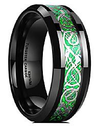 cheap -dragon men's 8mm green carbon fiber silver celtic dragon tungsten carbide ring comfort fit wedding band 6.5