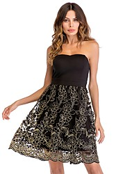 cheap -Women's A-Line Dress Knee Length Dress - Sleeveless Solid Color Lace Backless Embroidered Summer Strapless Sexy Party Slim 2020 Black S M L XL XXL