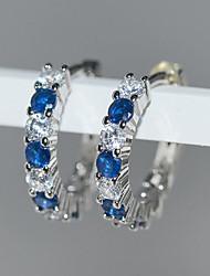 cheap -Women's AAA Cubic Zirconia Hanging Earrings Geometrical Fashion Elegant European Earrings Jewelry Silver For Wedding Party Evening 1 Pair