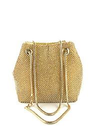 cheap -Women's Girls' Bags Alloy Evening Bag Crystals Wedding Event / Party Handbags Chain Bag Black Gold Silver
