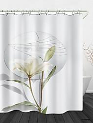 cheap -Flower Mirror Digital Printing Shower Curtain Shower Curtains  Hooks Modern Polyester New Design