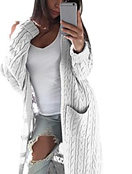 cheap -women bohemia open front cardigan ladies long sleeve knitting jacket casual coat outwear with pockets (white)
