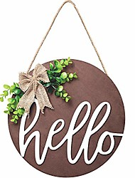 cheap -hello sign rustic front door decorative round wood farmhouse porch decoration home, antique wood round sign hello door sign (brown)