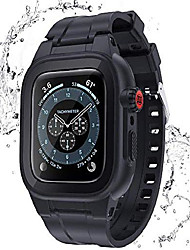 cheap -waterproof for apple watch case For iWatch Apple Watch Series SE / 6/5/4/3/2/1  44 mm 40 mm 38 mm 42mm silicon sports band with case and screen protector, ip68 rugged protective armor bumper(black)