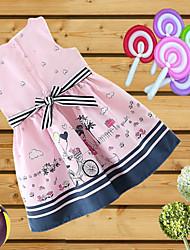 cheap -Kids Girls' Active Geometric Print Sleeveless Above Knee Dress Blushing Pink