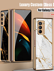 cheap -Case For Samsung Galaxy Galaxy Z Flip / Galaxy Z Fold 2 Shockproof / Plating / Ultra-thin Back Cover Scenery / Geometric Pattern / Marble TPU / Tempered Glass