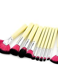 cheap -hot sale 10pcs/set wood handle makeup brushes powder flame nose eyebrow mini fan brush - yellow + silver