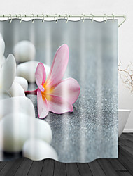 cheap -White Pebbles Pink Flowers Digital Printing Shower Curtain Shower Curtains  Hooks Modern Polyester New Design 72 Inch