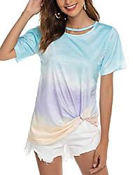 cheap -womens round neck short sleeve shirt summer casual loose fit t shirt top light blue