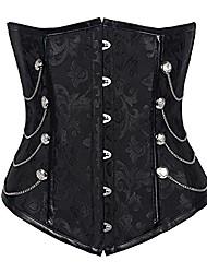 cheap -fashion corset tummy control underbust bustier buckle lace-up shapewear tops black