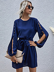 cheap -Women's A-Line Dress Knee Length Dress Long Sleeve Solid Color Fall Casual 2021 Royal Blue S M L XL