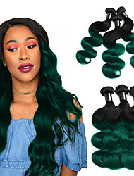 cheap -Ombre T1B/Green Color 3 Bundles Hair Weaves with Dark Roots Brazilian Hair Straight Human Hair Extensions 100% Remy Hair Weave Bundles 10-30 inch For Black Women