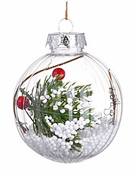 cheap -80 mm christmas balls ornaments for xmas tree - shatterproof christmas tree holiday decorations pendant large transparent snow flower hanging ball seasonal decorative baubles set