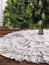 cheap -white ruffle christmas tree skirt, 48 inches 6-layer rustic xmas tree holiday decorations