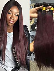 cheap -T1B/Burgundy Color 3 Bundles Ombre Hair Weaves Brazilian Hair Straight Human Hair Extensions 100% Remy Hair Weave Bundles Ombre Hair Weaves  10-30 inch New Design Bulk in Stock