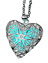 cheap -magical fairy glow in the dark heart locket pendant necklace for teen girl