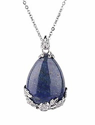 cheap -natural gemstone teardrop pendant carved flower necklace healing crystal chakra jewelry for women