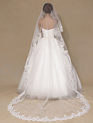 cheap -One-tier Luxury / Lace Applique Edge Wedding Veil Chapel Veils / Cathedral Veils with Sequin / Solid / Paillette 118.11 in (300cm) Tulle / Classic