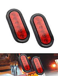 cheap -2Pcs 6 LED Trailer Truck Stop/Turn/Tail Brake Lights Oval Sealed Mount Red 4000K