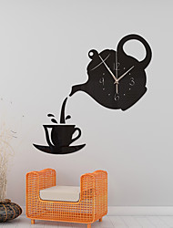 cheap -Creative DIY 3D Wall Clock Acrylic Coffee Cup Teapot Decorative Kitchen Wall Clocks Living Room Dining Room Home Decor Clock