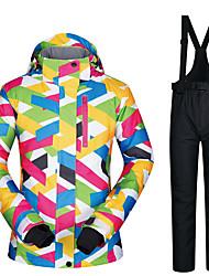 cheap -MUTUSNOW Women's Ski Jacket with Bib Pants Waterproof Windproof Warm Skiing Autumn / Fall Clothing Suit for Skiing Hiking Snowboarding Winter Sports / Fashion