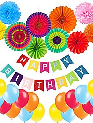 cheap -birthday decoration, happy birthday banner, tissue paper pom poms, hanging paper fan set and 20 pcs balloons for all birthday party decorations - multicoloured