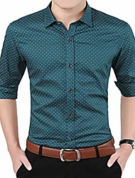 cheap -men's printed dress shirt-100% cotton casual long sleeve shirt-button up point collar shirt-green-l