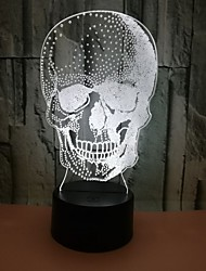 cheap -New Skull 3D Night Light Colorful Touch Light for Bedroom Home Decoration