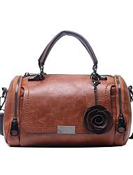 cheap -Women's Bags PU Leather Top Handle Bag Flower Daily Handbags MessengerBag Black Red Green Brown