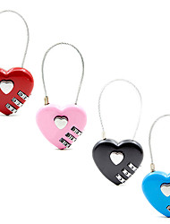 cheap -New Heart Shaped Padlock 3 Dial Digit Password Lock Luggage Password Padlock Double Mood Love Lock Travel Gift 4 Colors