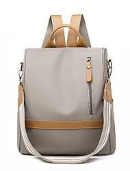 cheap -Women's Oxford School Bag Rucksack Large Capacity Zipper Color Block Daily Outdoor Backpack Black Khaki