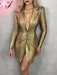 cheap -Women's Sheath Dress Knee Length Dress - Long Sleeve Animal Button Spring Fall Elegant Sexy 2021 Gold S M L