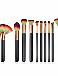 cheap -makeup brushes,  premium professional makeup brush set,10pcs synthetic makeup brushes for foundation blending blush powder blush concealers eye shadows brushes (black colorful)