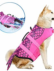 cheap -dog life jackets, ripstop pet floatation life vest for small, middle, large size dogs, dog lifesaver preserver swimsuit for water safety at the pool, beach, boating & #40;xxl, pink mermaid&