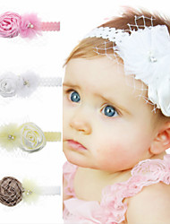cheap -1pcs Toddler / Infant Girls' Sweet White Solid Colored Flower Chiffon Hair Accessories White / Blushing Pink / Brown One-Size