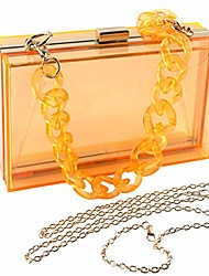 cheap -women clear purse acrylic clear clutch bag, shoulder handbag with removable gold chain strap (orange)