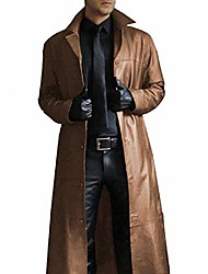 cheap -men's winter long windbreaker lapel solid color long faux leather coat warm jacket (brown,xx-large)