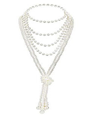 "cheap -art deco jewelry 1920s pearl necklace long necklace for women gatsby flapper accessories vintage party (a-knot pearl necklace2 + 59"" necklace1/champagne pink)"