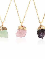 cheap -natural raw stone pendant necklace for women healing chakra crystals with three different chains
