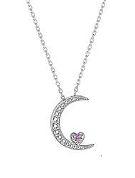 voordelige -Dames Helder Roze Zirkonia Hangertjes ketting Monogram Crescent Moon Koreaans Modieus Messinki Zilver 50 cm Kettingen Sieraden 1pc Voor Lahja Verjaardagsfeest