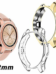 cheap -compatible samsung galaxy watch 42mm case 2018 (for sm-r815 and sm-r810), (2 packs) soft tpu smart shockproof case cover bumper protector (clear and gold, 42mm)