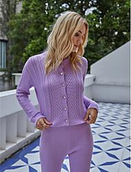 cheap -Women's Solid Colored Basic Fall & Winter Sweater Coat Regular Daily Long Sleeve Acrylic Coat Tops Purple
