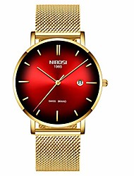 cheap -mens watch ultra thin wrist watches for men fashion waterproof dress black stainless steel band (gold red)
