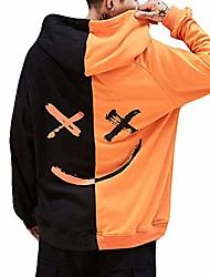 cheap -men pullover hoodie sweater smile be happy print patchwork hip hop costume (xxxxl, orange)