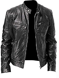 cheap -vintage motorcycle cowhide biker leather jacket for mens