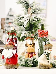 cheap -2pcs Christmas Decorations Knitted Imitation Bark Wine Bottle Cover Creative New Wine Cover Old Wine Bag Bottle Cover