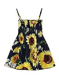 cheap -girl's dress summer spaghetti strap sleeveless floral printed casual cotton dress party sundress 18m-5t dark blue